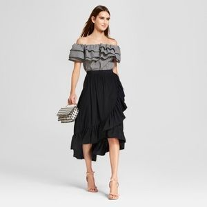 Who wear what target ruffle wrap midi black skirt